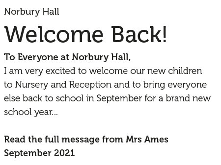 A message from Mrs Ames September 2021